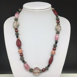 Chico's Pink Art Glass Faux Pearl Beaded Necklace